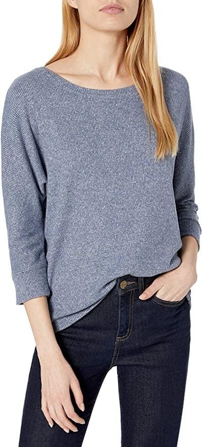 Daily Ritual Cozy Knit Rib Dolman 3/4 Sleeve Sweatshirt