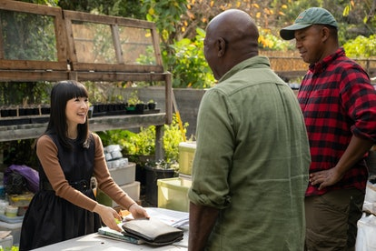 Marie Kondo with Jim and Logan in Netflix's 'Sparking Joy' Episode 1.