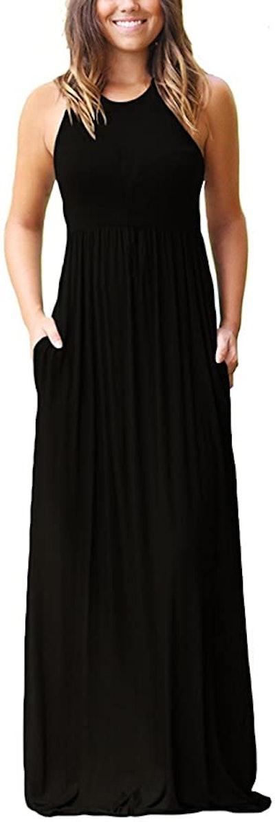 GRECERELLE Sleeveless Racerback Loose Plain Maxi Dress