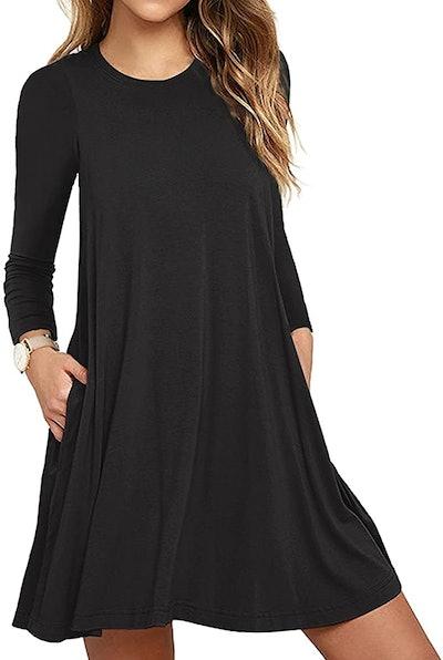 HAOMEILI Long Sleeve T-Shirt Dress