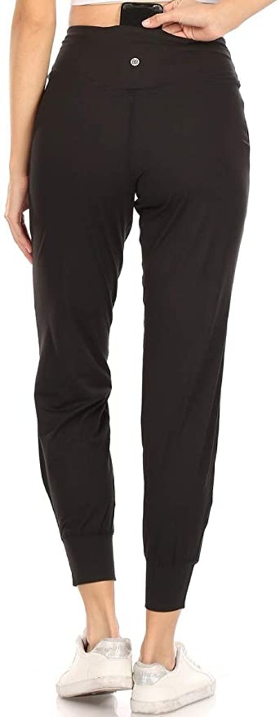 Leggings Depot Printed Solid Activewear Jogger Track Cuff Sweatpants