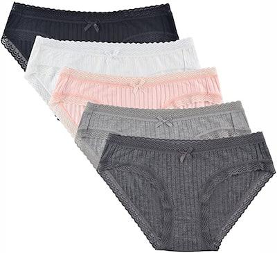 KNITLORD Bamboo Viscose Hipster Panties (5-Pack)