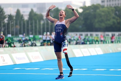 Melissa Stockwell of Team United States reacts as she crosses the finish line during the women's PTS...