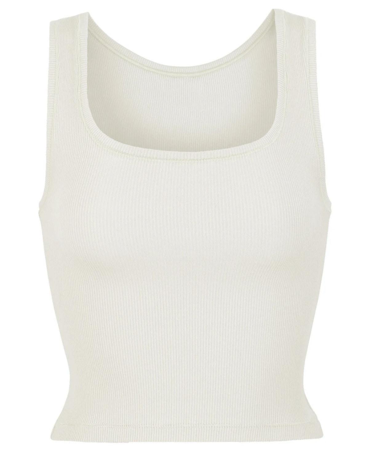 SKIMS' white cotton rib tank top.