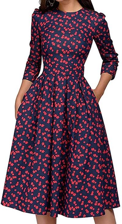 Simple Flavor Floral Vintage Dress Elegant Midi Dress