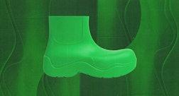 one lime green bottega veneta boot against a textured green background