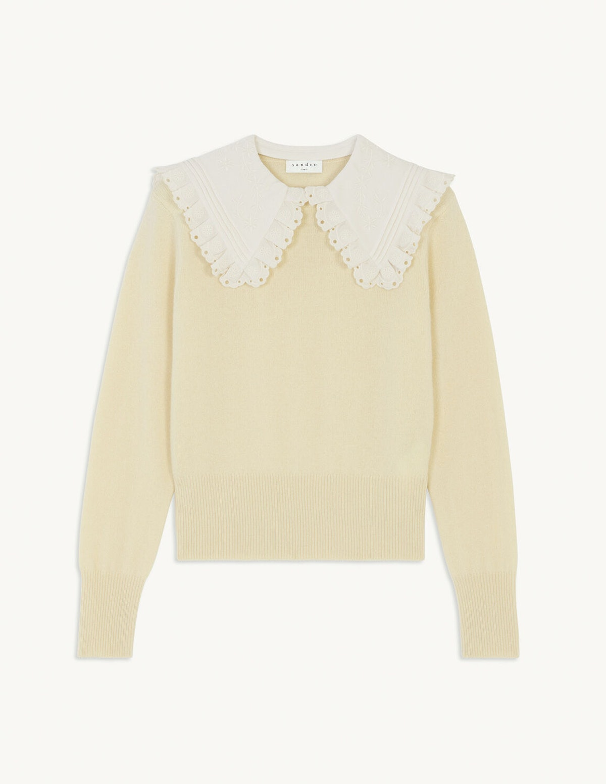 Sandro Wool Sweater With Embroidered Collar