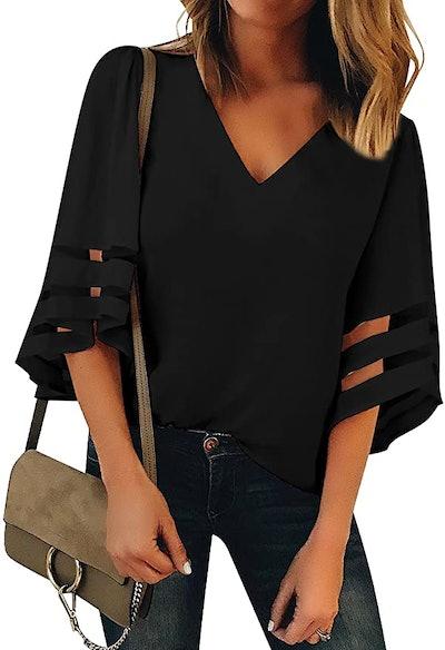 LookbookStore V Neck 3/4 Bell Sleeve Top