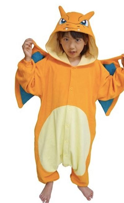 Child in a Chizard Pokemon costume