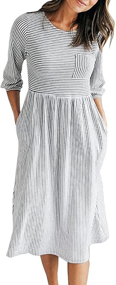MEROKEETY  Striped Midi Dress with Pockets