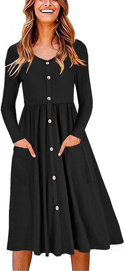 OUGES V Neck Button Down Skater Dress with Pockets