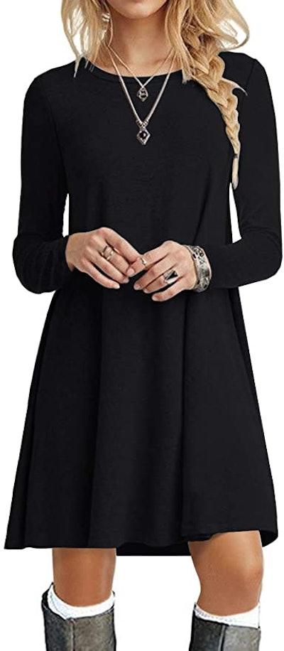 POPYOUNG  Long-Sleeve T-Shirt Dress