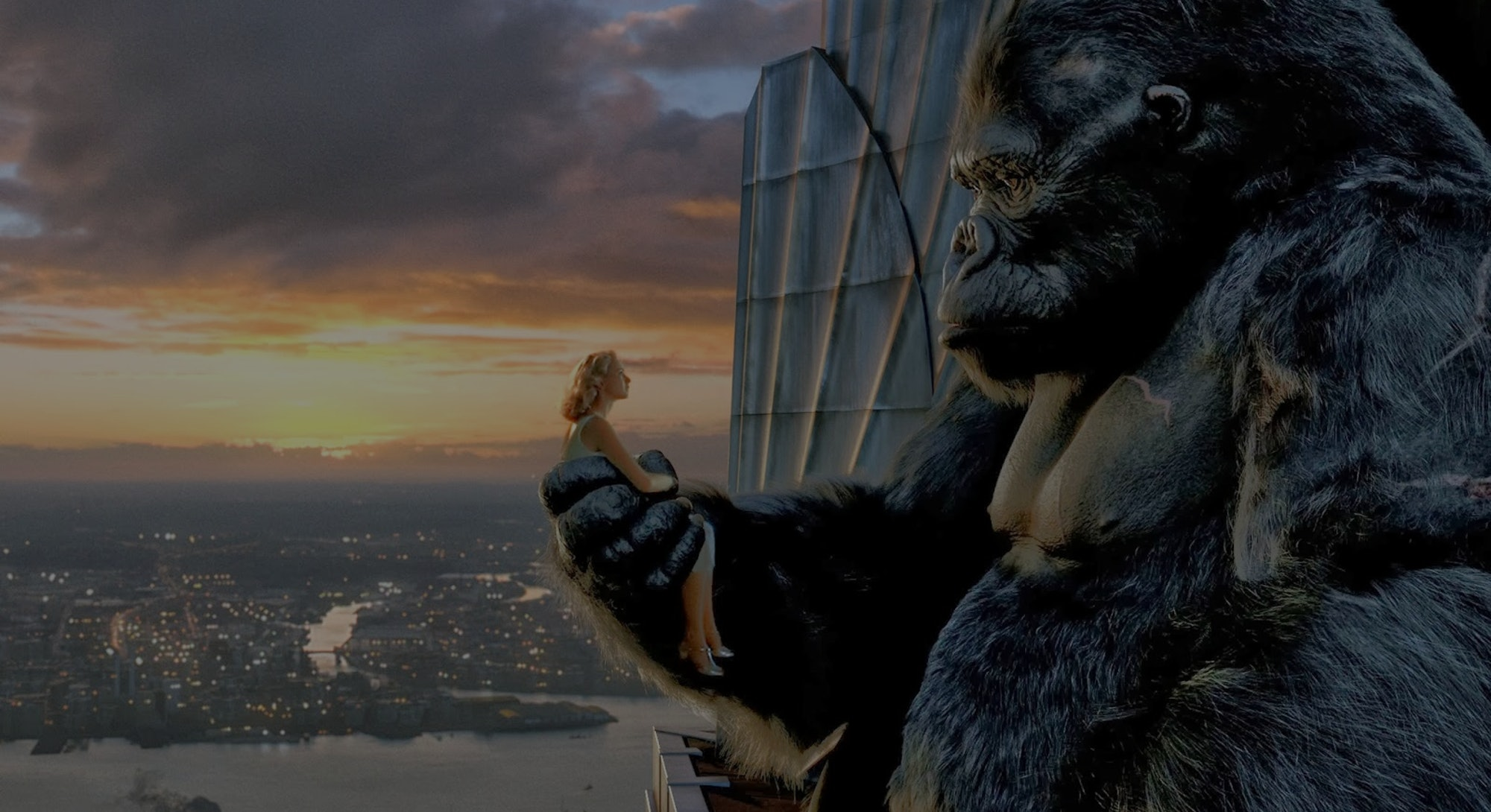 still image of King Kong holding Naomi Watts from 2005 movie