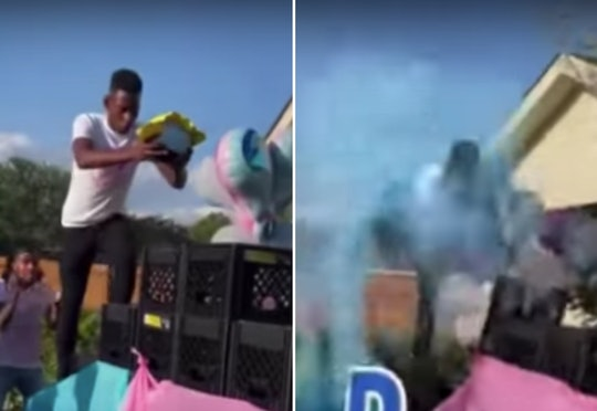 The milk crate challenge was turned into a gender reveal.