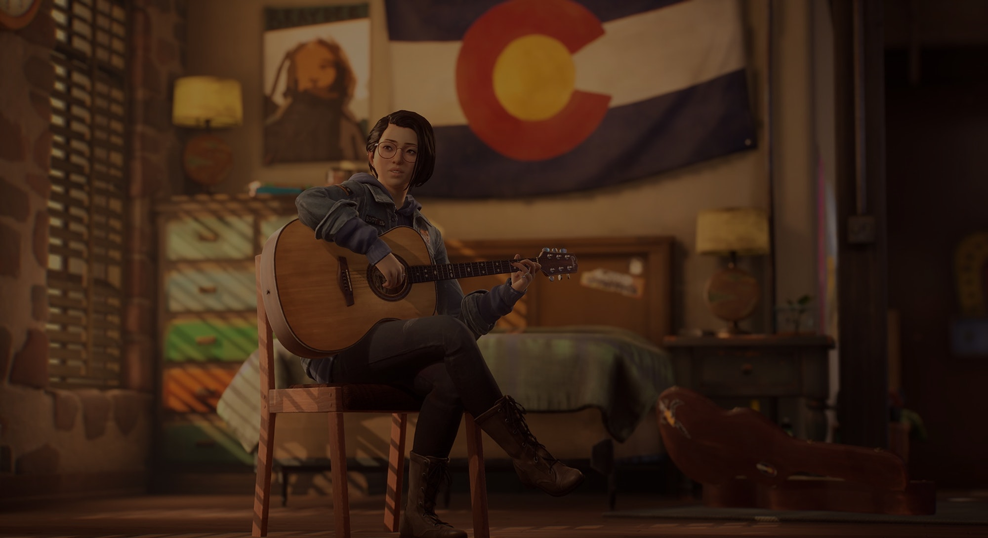 screenshot of alex chen playing guitar from life is strange: true colors trailer