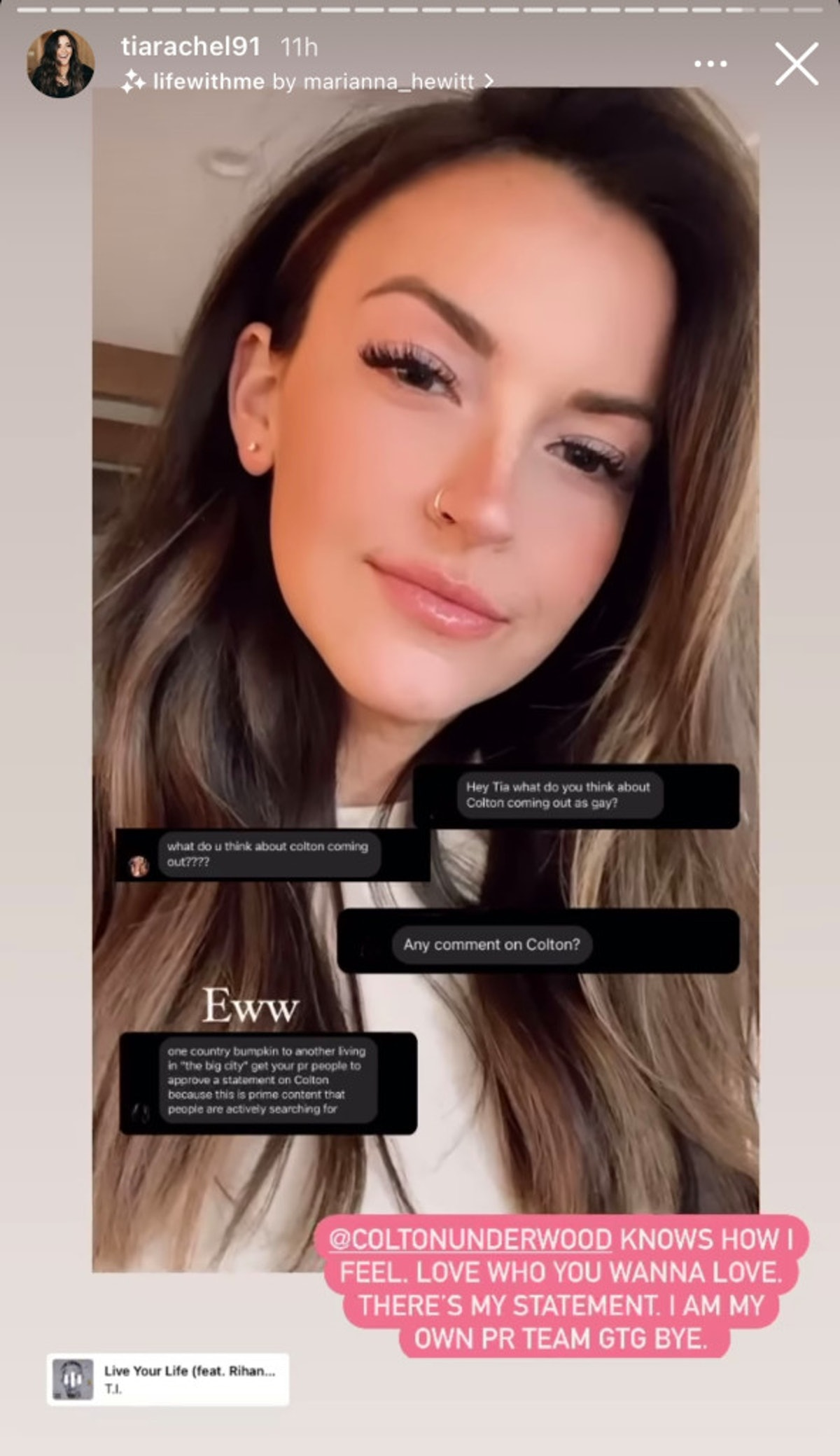 Tia Booth supported her ex, Colton Underwood.