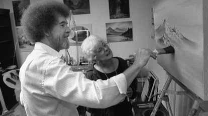 Bob Ross and Annette Kowalski as seen in 'Bob Ross: Happy Accidents, Betrayal & Greed.' Photo courte...