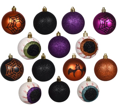 Image of sparkling circular Halloween-themed ornaments.
