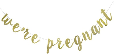 We're Pregnant Gold Glitter Banner For Pregnancy Announcement