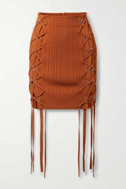 Lace-up ribbed-knit mini skirt