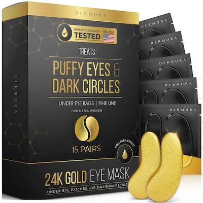 DERMORA 24K Gold Eye Mask (15 Pairs)