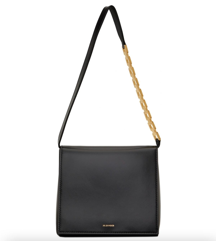 Jil Sander Black Small Prysm Chain Shoulder Bag