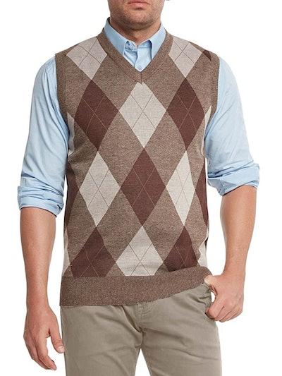 Men's Argyle V-Neck Sweater Vest in Brown/Beige