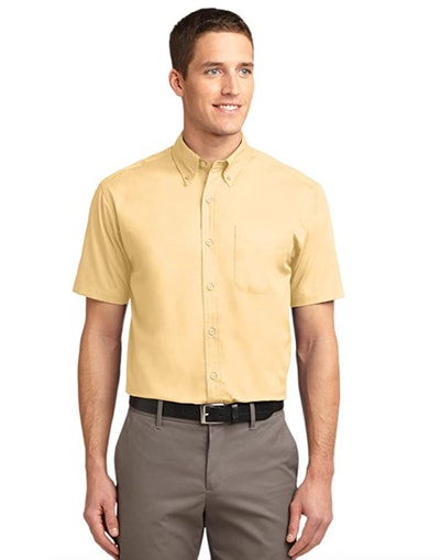 This yellow short-sleeved button down shirt is perfect for a Dwight Schrute Halloween costume.