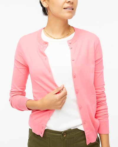 A classic cotton cardigan in tea rose from J.Crew for a Pam Beesly Halloween costume.