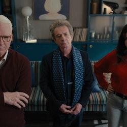 Mabel (Selena Gomez), Oliver (Martin Short), and Charles (Steve Martin) examine their suspect board ...