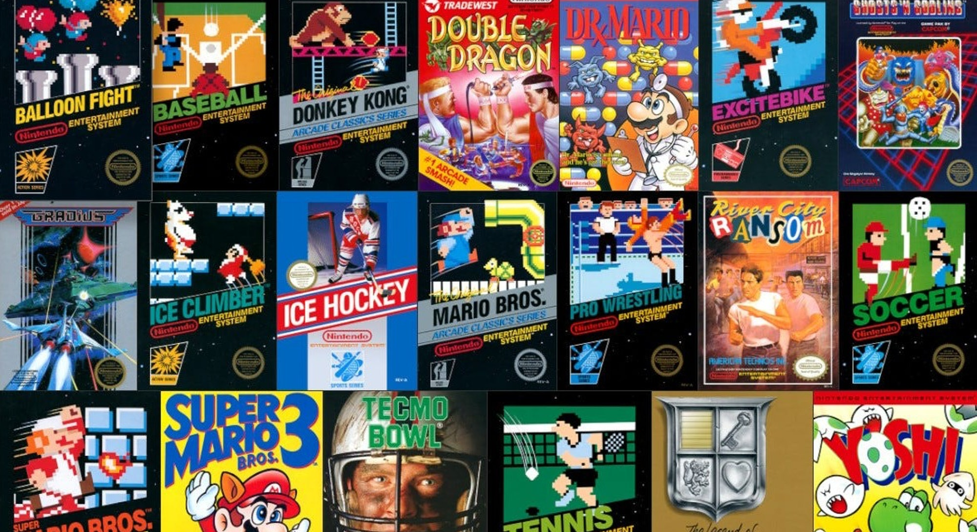 image of NES box covers from Nintendo Switch Online