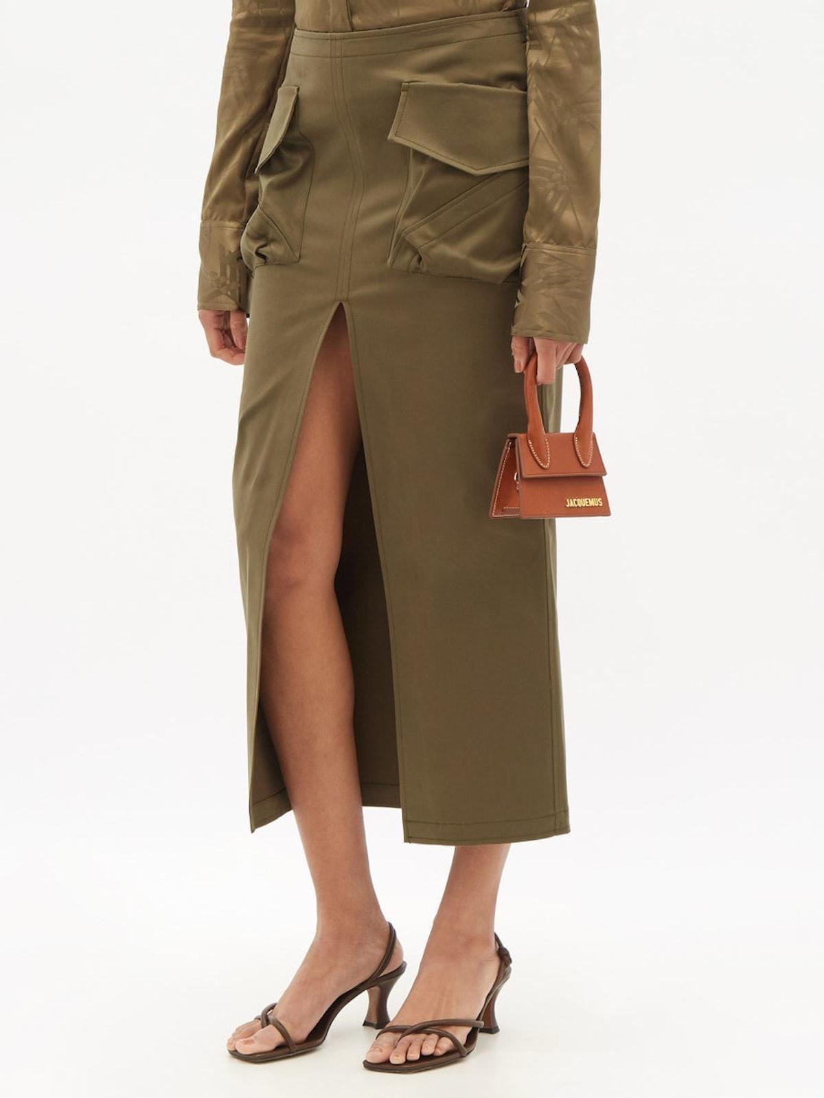 The Attico Patch-Pocket Split Cotton-Blend Twill Skirt