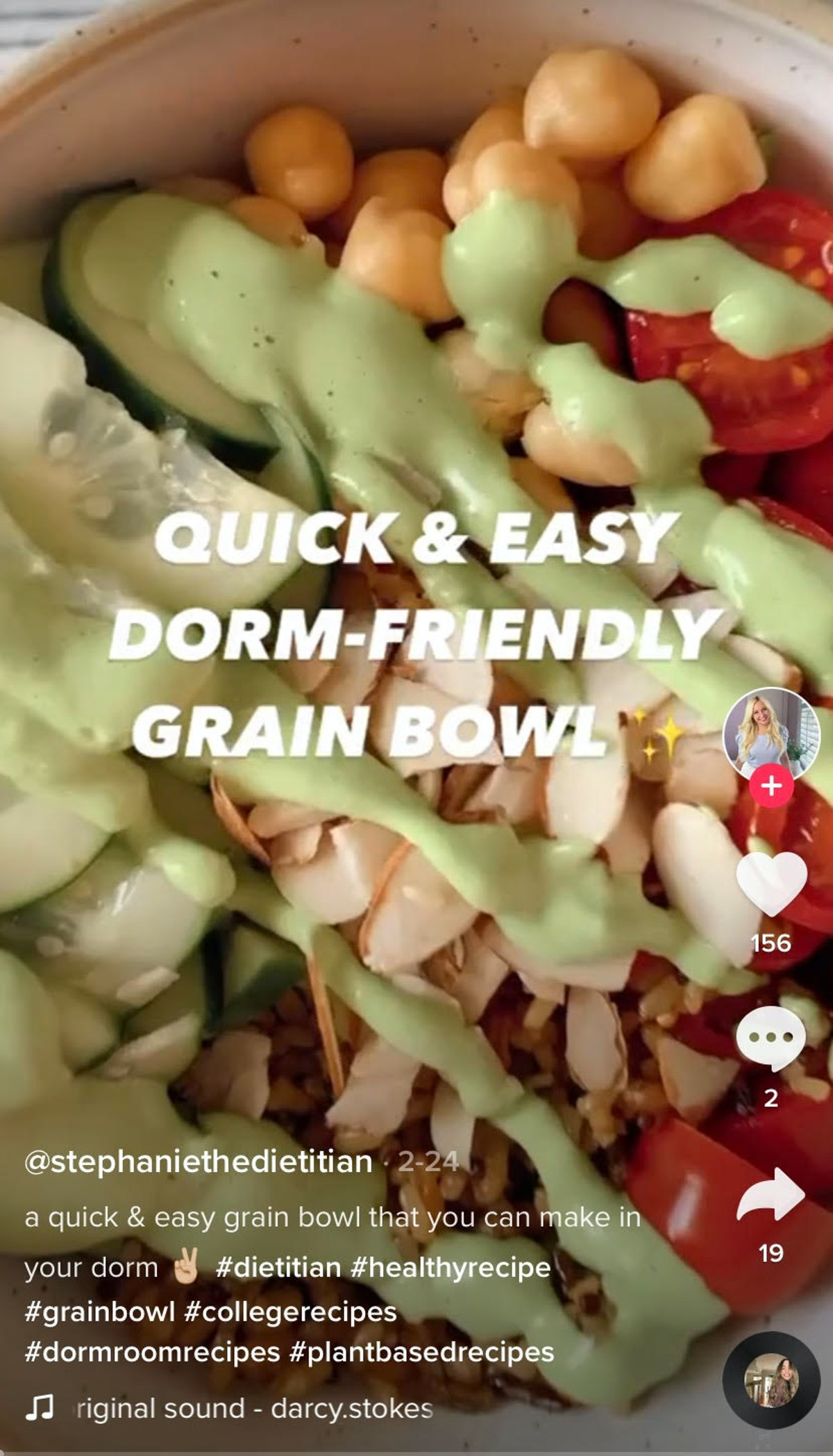 A woman makes a quick and easy dorm room-friendly gran bowl recipe on TikTok with cucumbers and toma...
