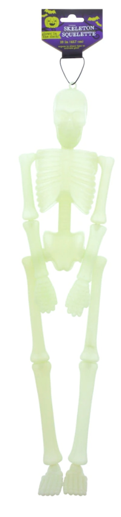 Image of a glow-in-the-dark hanging skeleton decoration.