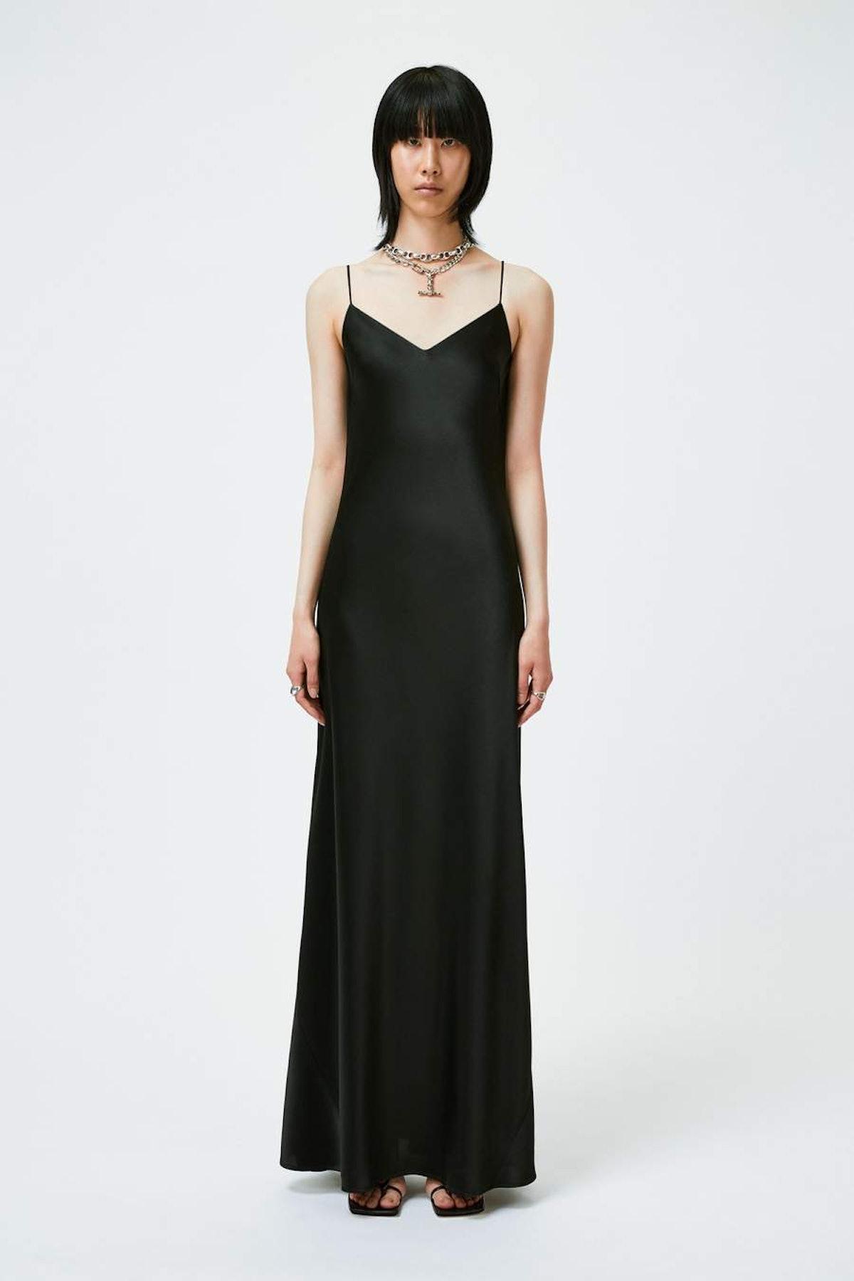 Black satin V-neck slip dress from Galvan London.