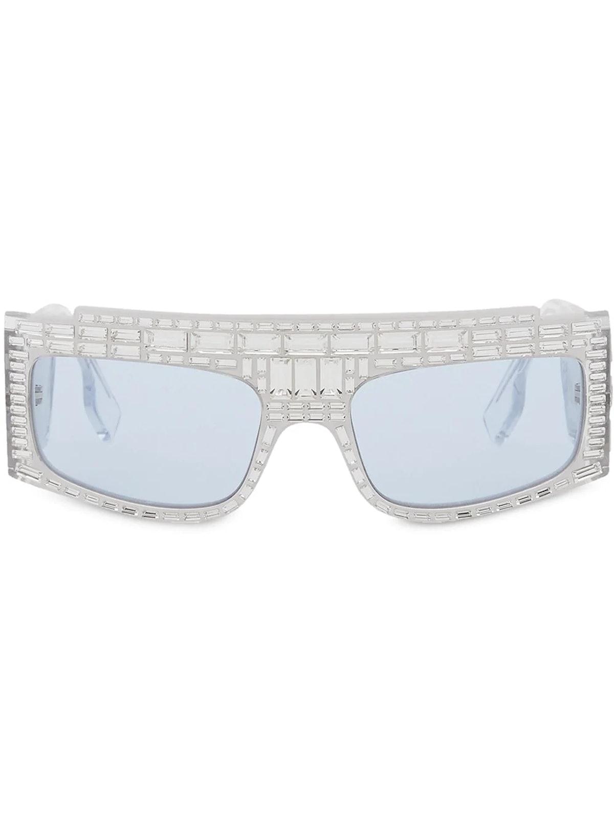 Burberry crystal-embellished rectangular sunglasses