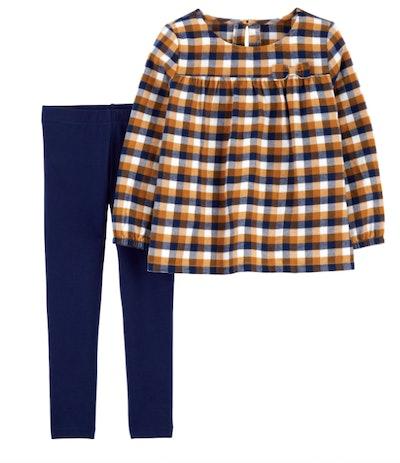 Plaid shirt and blue leggings