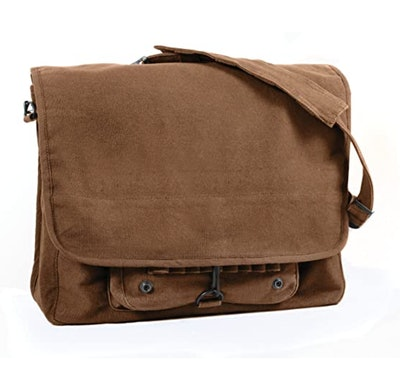 This Rothco vintage canvas paratrooper bag can be used as part of a Jim Halpert Halloween costume.