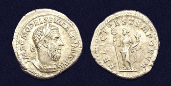 'Felicitas' appears on the back of a Roman coin.