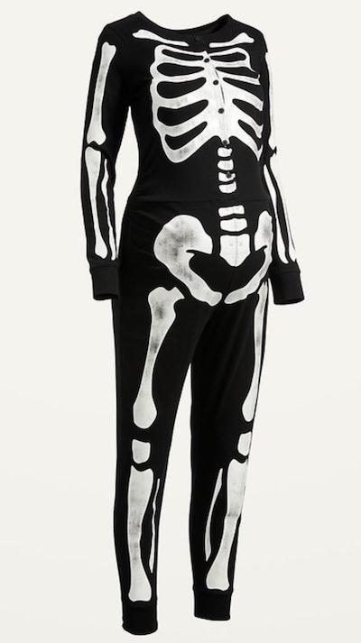 Maternity Matching Halloween Skeleton Graphic One-Piece Pajamas for Women