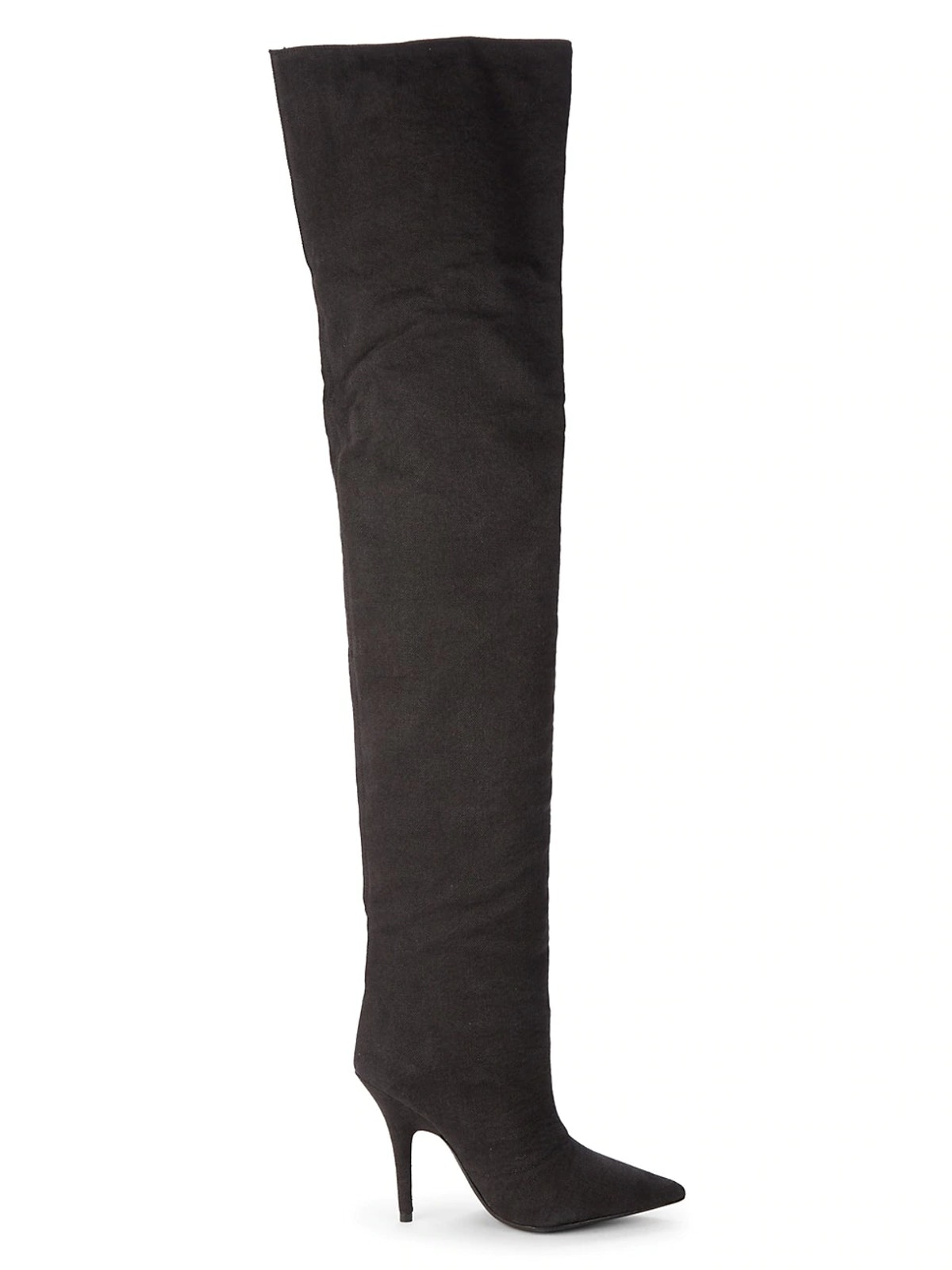 Yeezy's black thigh-high boots.