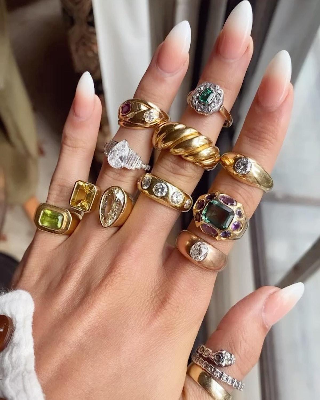 Ring stacks worn by The Moonstoned LLC founder Elizabeth Potts on Instagram, 2021.