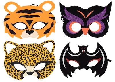 Image of four animal Halloween eye masks.