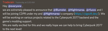 A screenshot from the Cyberpunk 2077 modding discord channel