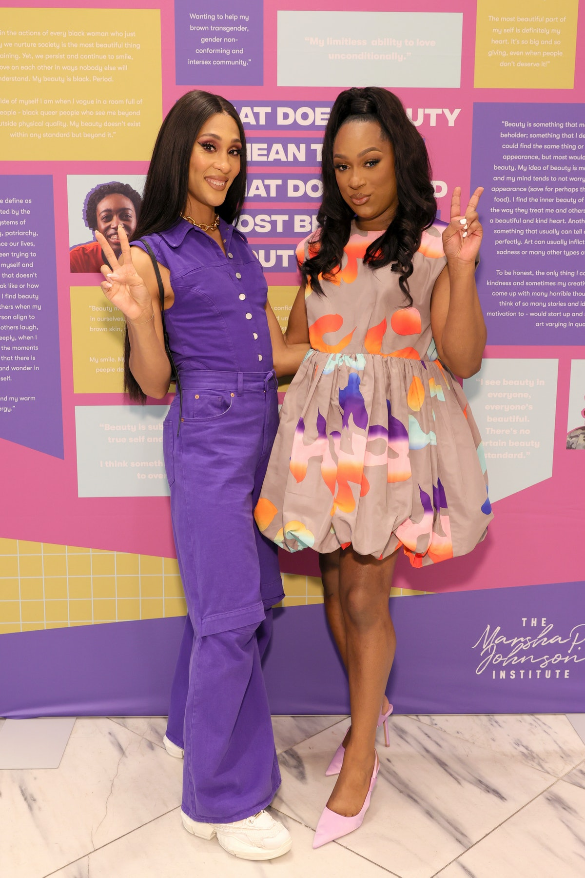 MJ Rodriguez (L) and Elle Moxley, Founder and Executive Director of The Marsha P. Johnson Institute ...