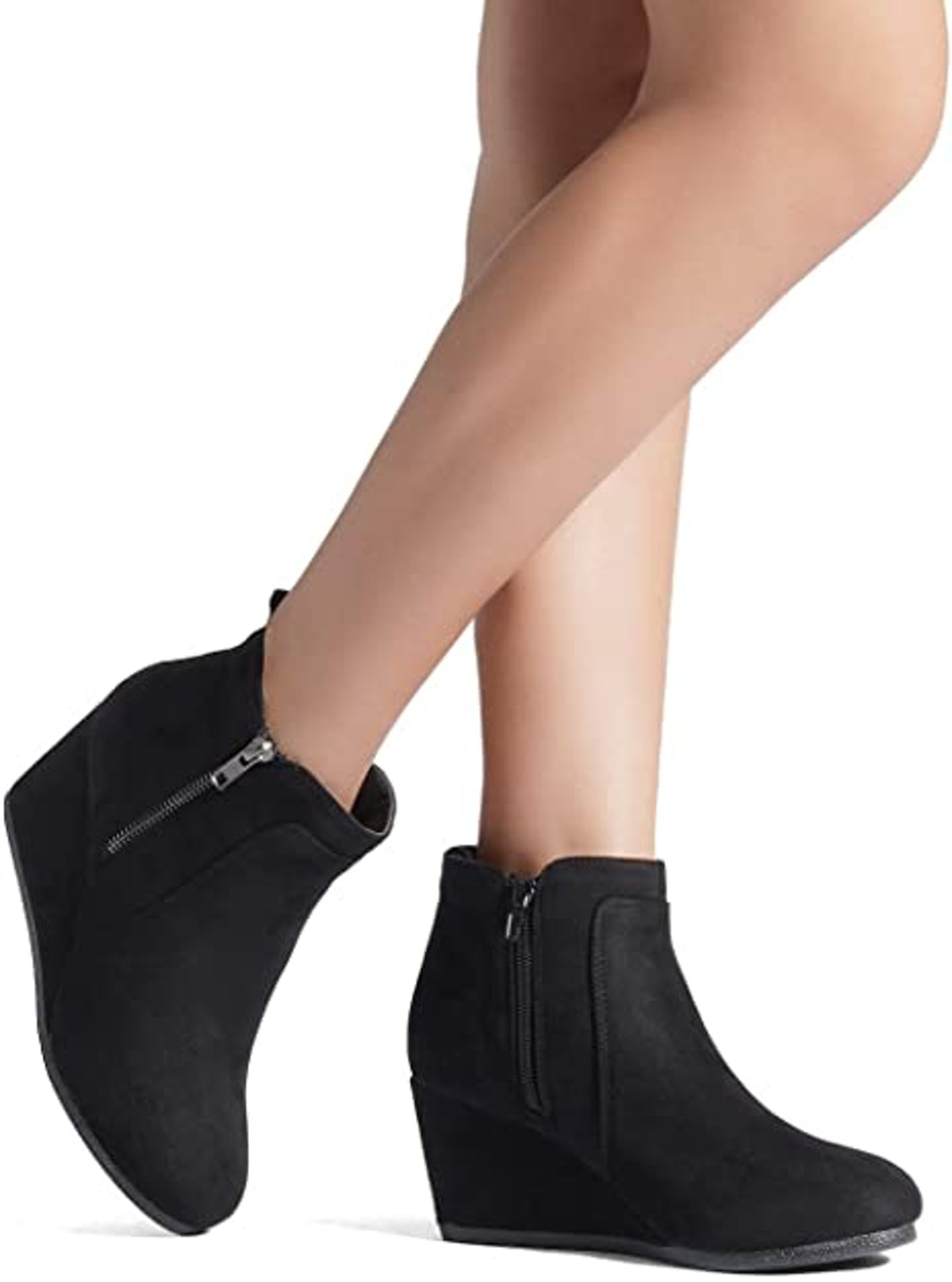 Dream Pairs Suede Low Wedge Ankle Boots