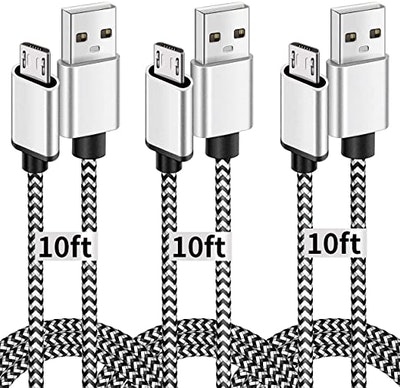Deegotech 10-Foot Micro-USB Cables (3-Pack)