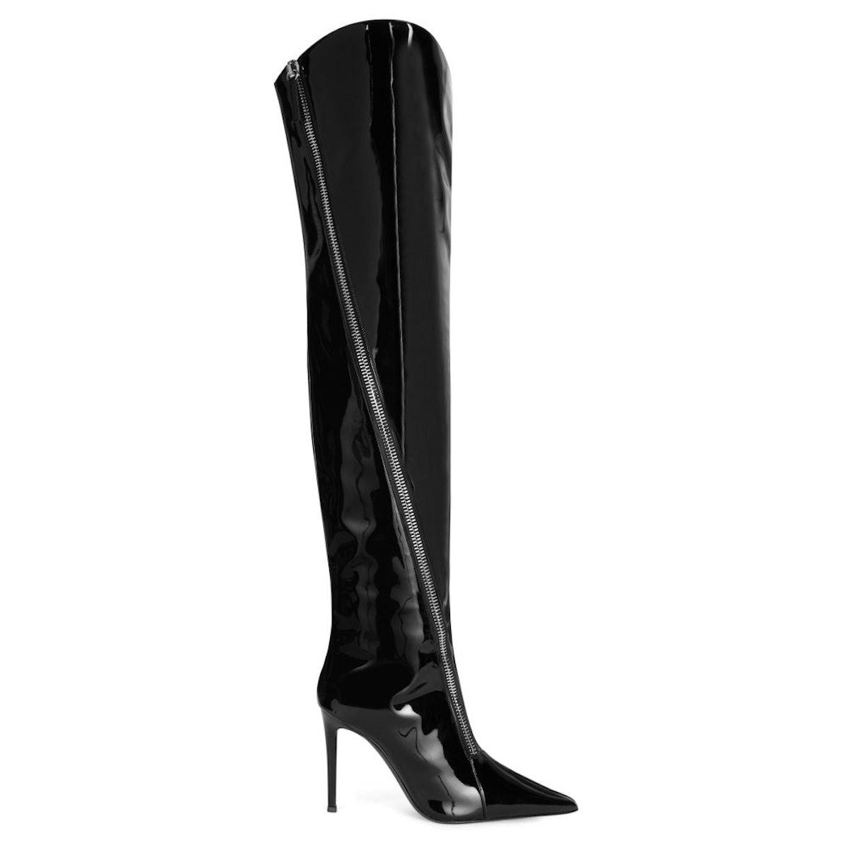 Giuseppe Zanotti black knee high boots with stiletto heel.
