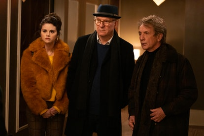 Mabel (Selena Gomez), Oliver (Martin Short) and Charles (Steve Martin) looking aghast in 'Only Murde...