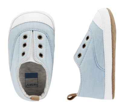 Light blue chambray baby sneakers